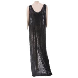 Liza Minnelli sheer black with leather sequin sleeveless gown by Isaac Mizrahi.