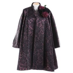 Liza Minnelli wine and black brocade ensemble by Gianfranco Ferre.