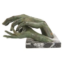 'After Love' bronze resin sculpture on marble base by Lorenzo Quinn.