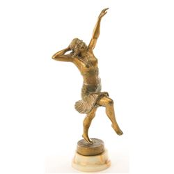 Liza Minnelli personal cast spelter metal dancer sculpture after Henri Fugere.