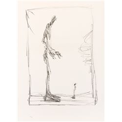 Alberto Giacometti 'Dessin I (Big and Small)' editioned lithographic print.