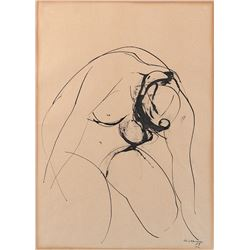 Crouching nude drawing by Morrillo.