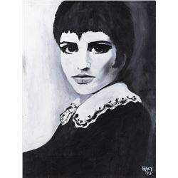 Liza Minnelli high contrast portrait paintings.