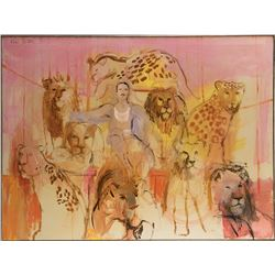 Circus animal scene painting by Orbach.