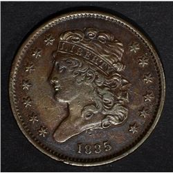 1835 HALF CENT, XF+ minor roughness