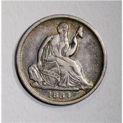 1837 NO STARS SEATED HALF DIME, VF+ NICE
