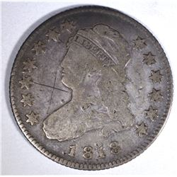 1818 CAPPED BUST QUARTER, FINE scratch obv
