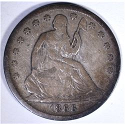 1866-S SEATED HALF DOLLAR, FINE