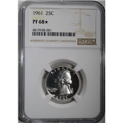 1961 WASHINGTON QUARTER, NGC PF-68*