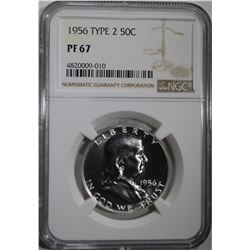 1956 TYPE-2 FRANKLIN HALF DOLLAR, NGC PF 67