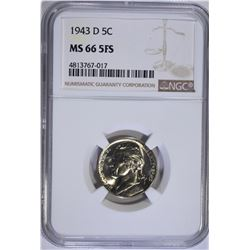 1943-D JEFFERSON NICKEL NGC MS66 5FS