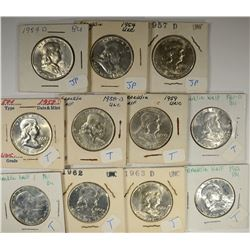 CHBU FRANKLIN HALVES: 1963, 1963-D,
