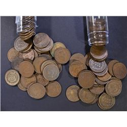 1902 & 1904 CIRC INDIAN CENT ROLLS ( 100 ) COINS T