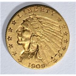 1909 $2.50 INDIAN GOLD, XF/AU
