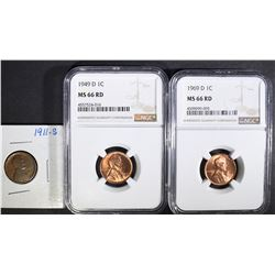1949-D & 1969-D LINCOLN CENTS NGC