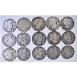 15-DIFFERENT BARBER HALF DOLLARS, FULL GOODS