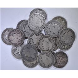 20-DIFFERENT BARBER HALF DOLLARS, FULL GOODS