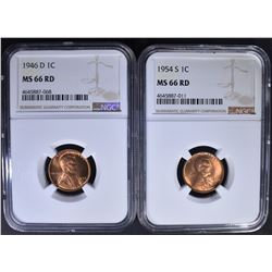 1946-D & 1954-S LINCOLN CENT NGC MS66RD