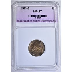 1943-S JEFFERSON NICKEL NGP SUPERB