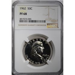 1962 FRANKLIN HALF DOLLAR NGC PF68