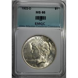 1922-D PEACE DOLLAR EMGC GEM BU