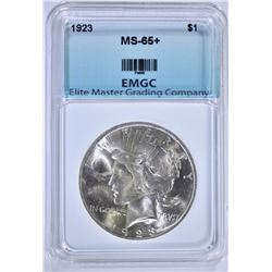 1923 PEACE DOLLAR EMGC GEM BU+