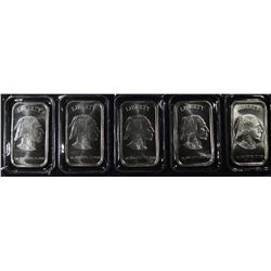 "5-ONE OUNCE .999 SILVER BARS ""INDIAN/BUFFALO"