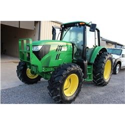 2013 JOHN DEERE 6125M Farm Tractor; VIN/SN:759302 -:- MFWD, 3 remotes, cab, A/C, 18.4-34 rear tires,