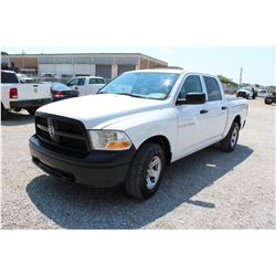 2012 DODGE 1500 Pickup Truck; VIN/SN:1C6RD7KP3CS283279 -:- 4x4, crew cab, V8 gas, A/T, AC, bed cover