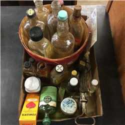 Tray Lot: Confectioner/Apothecary Items (Bottles, General Store Wares, Apple Basket, Egg Beaters, et