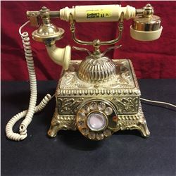 """Retro """"Vintage Style"""" Cream and Gold Rotary Telephone"""