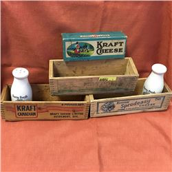 Cheese Boxes Wooden (3) & Cardboard Cheese Box & Salt/Pepper Shakers