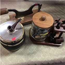 Pipe Stand w/Pipes & Tobacco Cutter