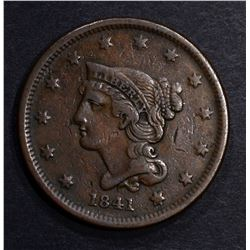 1841 LARGE CENT, XF BETTER DATE