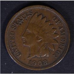 1908-S INDIAN CENT, VF/XF KEY COIN