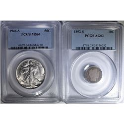 2-PCGS GRADED COINS: