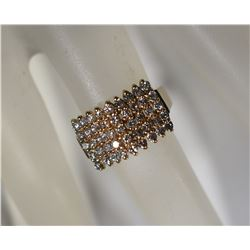 14kt PLUM YELLOWGOLD QUINTUPLE ROW RING