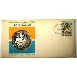 1973 BAHAMAS $10.00 STERLING COIN & STAMP SET