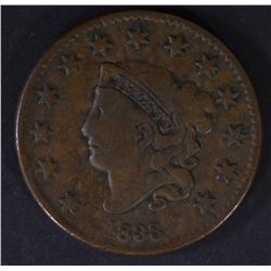 1833 LARGE CENT, VF