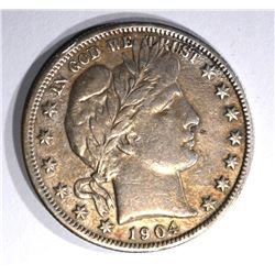 1904-S BARBER HALF DOLLAR, VF KEY COIN