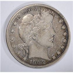 1905 BARBER HALF DOLLAR, VF