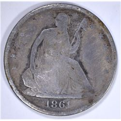 1861-O SEATED HALF DOLLAR, G/VG KEY DATE