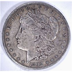 1892-S MORGAN DOLLAR, 100% ORIGINAL VF+