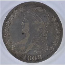 1808/7 CAPPED BUST HALF DOLLAR  VF