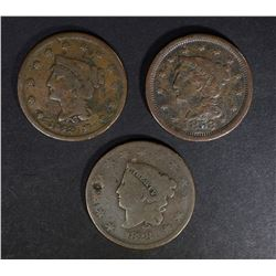 3 LARGE CENTS: 1828 VG, 1842 FINE Few Scratches &
