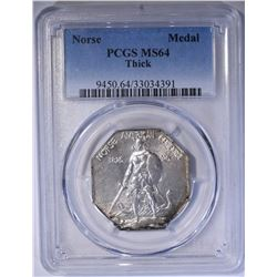 1925 NORSE AMERICAN THICK COMMEM MEDAL PCGS MS64