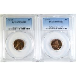 2 - 1938-S LINCOLN CENTS PCGS MS66RED