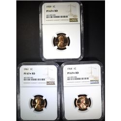 1959, 61 & 64 LINCOLN CENTS NGC PF 67* RED