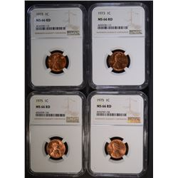 2-1973 & 2-1975 LINCOLN CENTS, NGC MS-66 RED