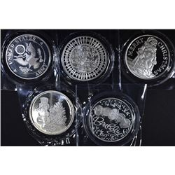 5-DIFFERENT 1oz .999 SILVER ROUNDS